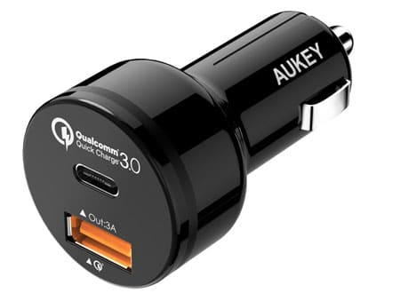 AUKEY Car Charger with USB C & Quick Charge 3.0 Ports for Samsung Galaxy Note 7
