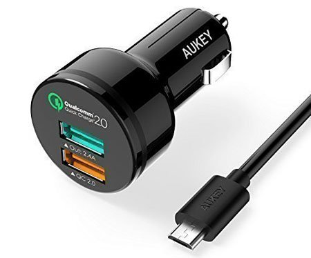 AUKEY Dual-Port Car Charger with Micro-USB Cable for LG G5