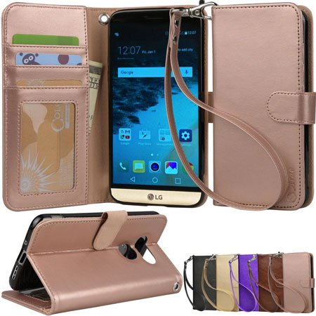 Arae Flip Folio Leather Wallet Cover for LG G5
