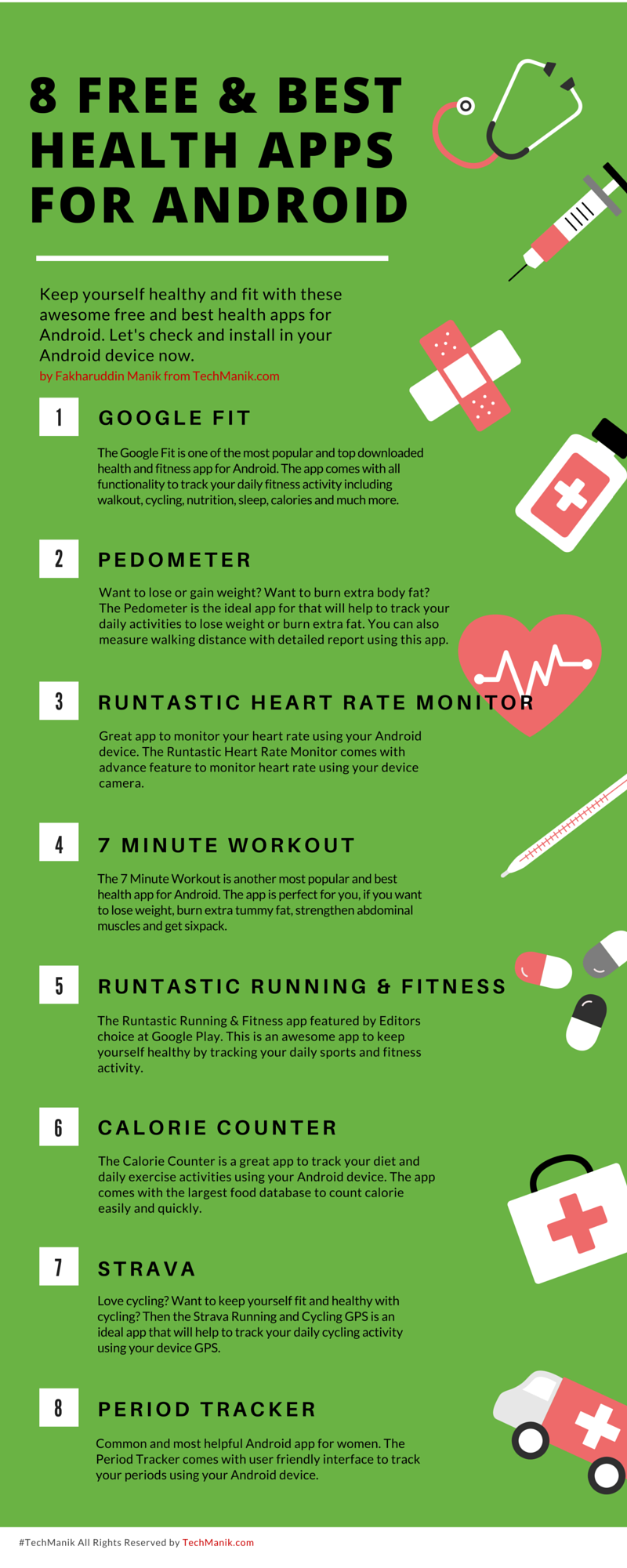Infographic of Best Health Apps for Android