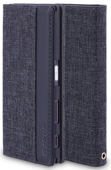 Getron Canvas plus PU Leather Flip Wallet Case for Xperia XZ (F8331)