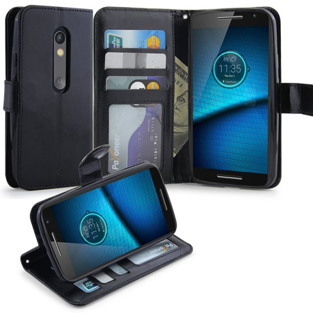 LK Droid Maxx 2 Wallet Case, PU Leather Flip Cover