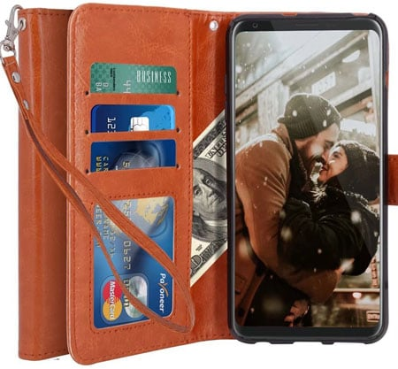 LK Luxury PU Leather Wallet Flip Protective Case Cover for LG V30