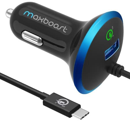 Maxboost 36WMaxboost 36W w/ Quick Charge 3.0 Car Charger for LG G6 Quick Charge 3.0 Tech.+Built-in Type-C (3.1) USB C Adapter Cable for Galaxy S8