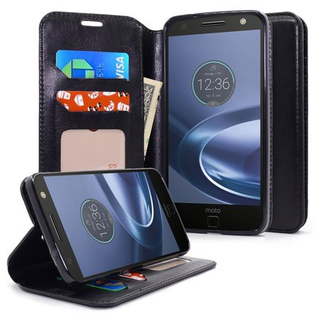 NageBee - Design Premium PU Leather Wallet Pouch Case for Motorola Moto Z Force Droid