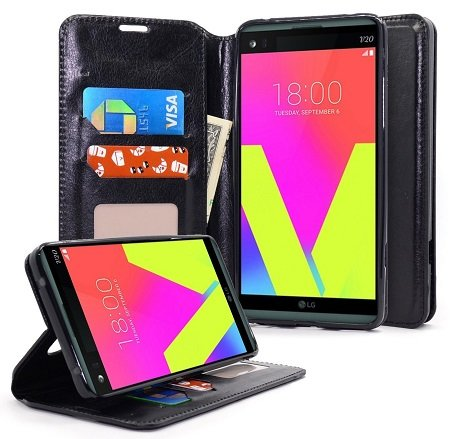 NageBee Leather Flip Fold Wallet Case for LG G6