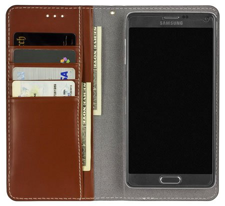 SOJITEK LG V20 Brown Hand Made Top Grain Leather Wallet Case