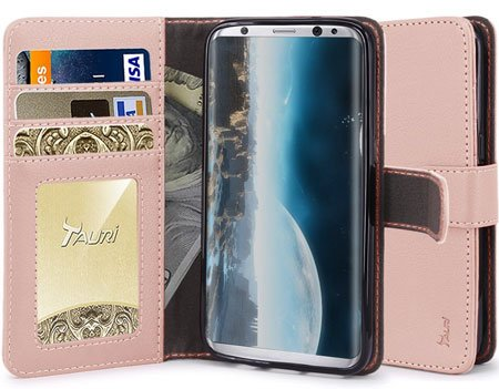 Tauri [Stand Feature] Wallet Leather Flip Cover for Galaxy S8