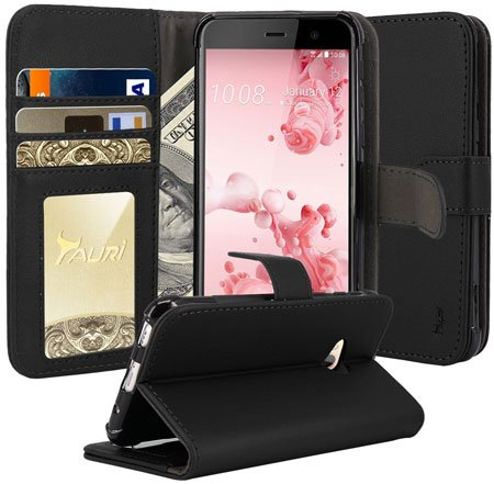Tauri Wallet Leather Case Flip Cover For HTC U Play