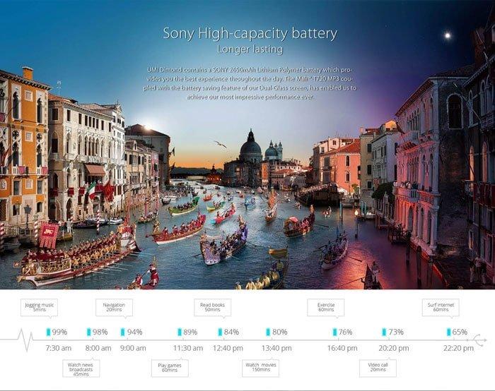 UMi Diamond 4GB Smartphone Battery