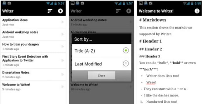 Writer - Best Android App for Writers