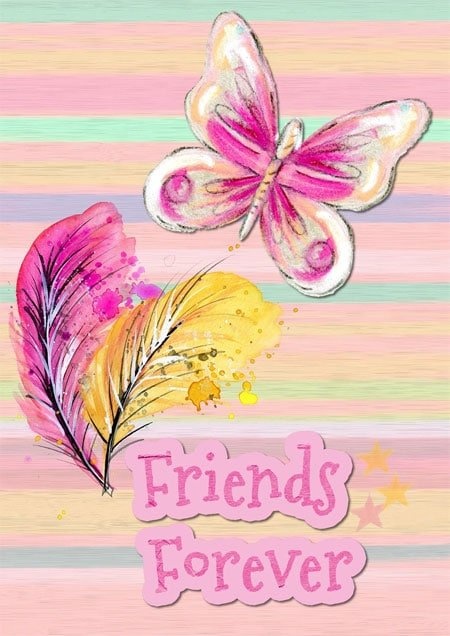Friends Forever Image with Butterfly