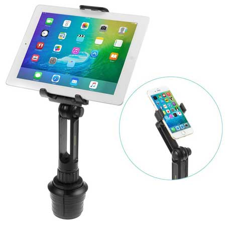iKross 2-in-1 Tablet and Cellphone Adjustable Swing Extended Cup Mount Holder
